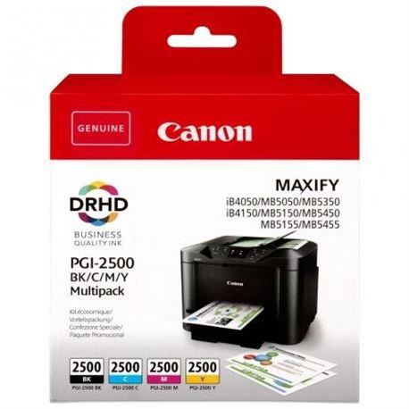 Pack Cartucho de Tinta CANON PGI-2500 Multi Maxify iB4050 MB5350 BK -29.1ml, C/M/Y - 9.6ml